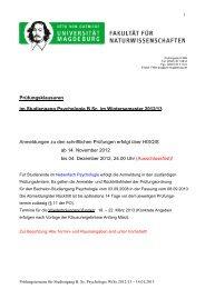 Prüfungsklausuren im Wintersemester 2012/13
