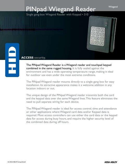 Wiegand Pinpad Reader Datasheet - HID Global