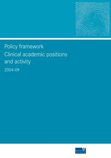 Policy framework: Clinical academic positions and activity 2004