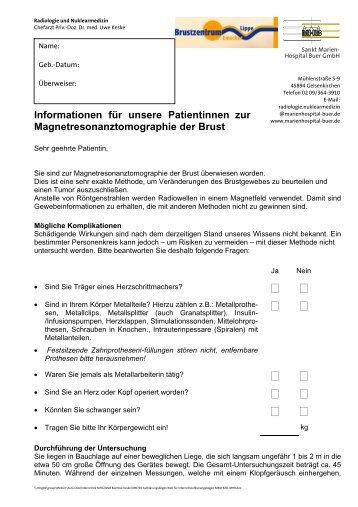 Aufklärungsbogen zur Magnetresonanztomographie der Brust