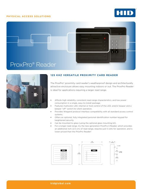 Prox ProxPro Reader Datasheet - HID Global