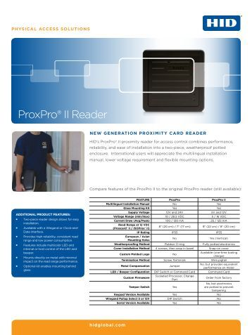 proxpro® ii reader 25 7 protection prox proxpro ii reader datasheet hid global