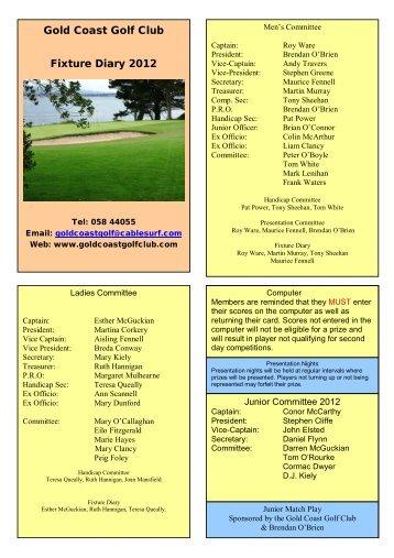 Gold Coast Golf Club Fixture Diary 2012