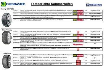 Testberichte Sommerreifen - Euromaster