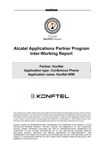 Alcatel Applications Partner Program Inter-Working Report - Konftel