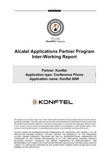 Alcatel Applications Partner Program Inter-Working Report - Konftel