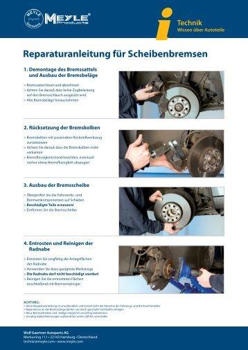 MEYLE - Reparaturanleitung für Scheibenbremsen