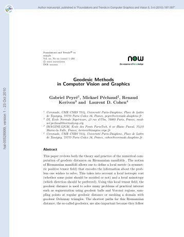 Geodesic Methods in Computer Vision and Graphics