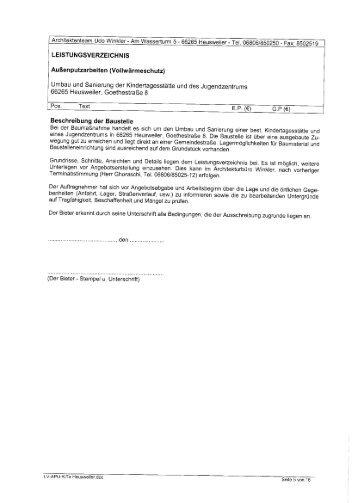 LEISTUNGSVERZEICHNIS Außenputzarbeiten (Vollwärmeschutz ...