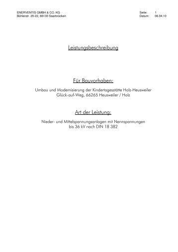 Leistungsbeschreibung Für Bauvorhaben - Gemeinde Heusweiler