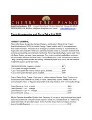 Piano Accessories and Parts Price List 2011 - Cherry Tree Piano