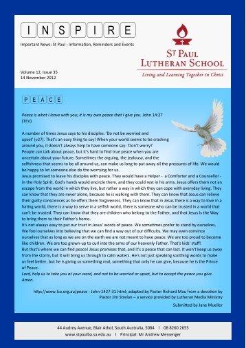Inspire 2012 Issue 35 November 14 - St Paul Lutheran School