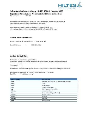 Export der Daten aus der Warenwirtschaft in den - Hiltes Software ...
