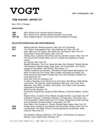 TOM THAYER - ARTIST CV - Vogt Gallery