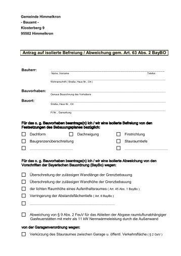 Antrag auf isolierte Befreiung/Abweichung - Gemeinde Himmelkron