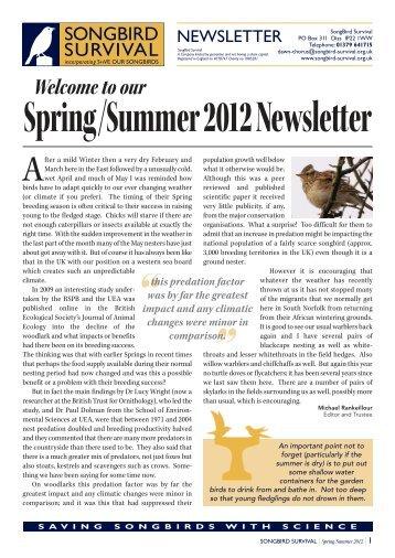 Summer 2012 Newsletter - Songbird Survival