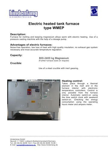 Electric heated tank furnace type WMEP - Hindenlang
