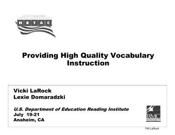 Providing High Quality Vocabulary g g y y Instruction - Miko Group, Inc.