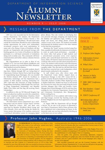 July 2008 Alumni Newsletter - Information Science - University of ...