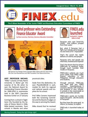 Bohol professor wins Outstanding Finance Educator Award FINEX.edu