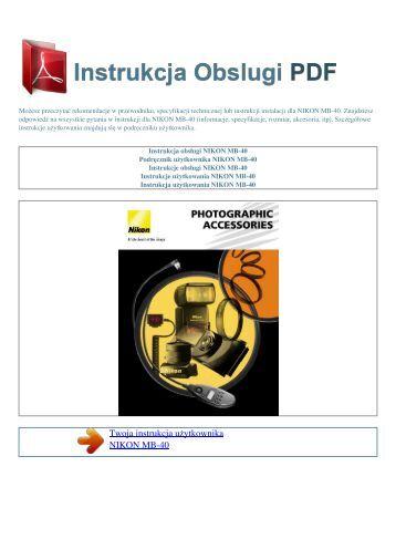 Instrukcja obsługi NIKON MB-40 - INSTRUKCJA OBSLUGI PDF
