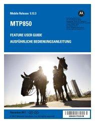 mtp850 feature user guide / ausführliche bedienungsanleitung