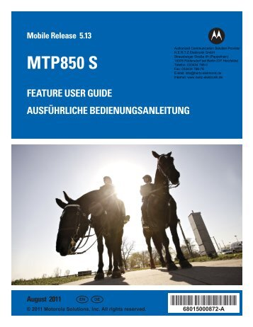 MTP850 S Feature User Guide - EN, DE - HERTZ Elektronik GmbH