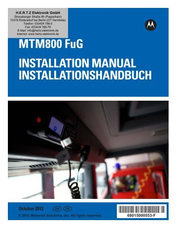 Motorola gm360 Installation Manual