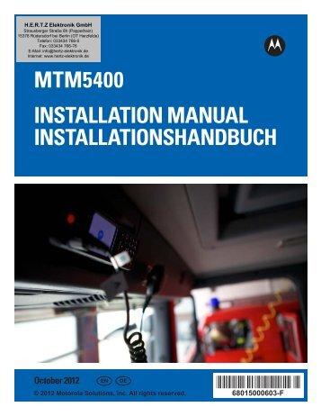 MTM5400 Installation Manual –  EN,DE - HERTZ Elektronik GmbH