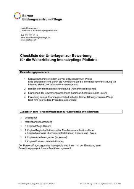 Checkliste Der Unterlagen Zur Bewerbung Für Die Weiterbildung