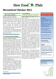 Monatsbrief 10/11 - Slow Food Deutschland eV