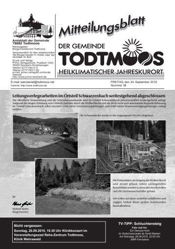 Leitungsverlegearbeiten im Ortsteil Schwarzenbach ... - Todtmoos