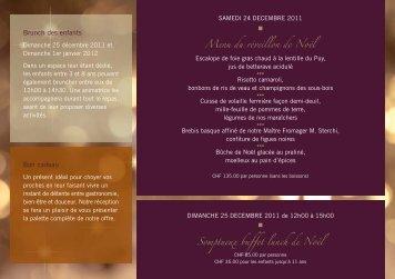 Menus pour les Fêtes de fin d'année - Beau-Rivage Hotel