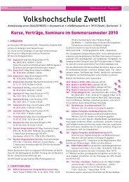 Programmvorschau auf das Sommersemester 2010 der - Zwettl