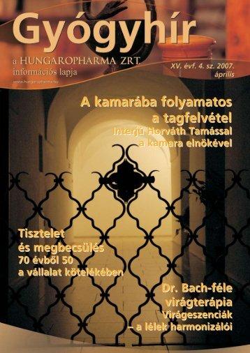 Gyógyhír - 2007/4.sz. - Hungaropharma ZRt.