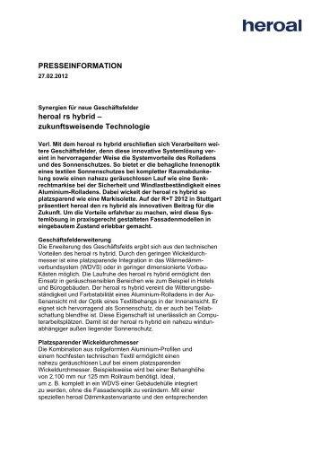 PRESSEINFORMATION heroal rs hybrid – zukunftsweisende ...