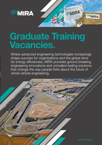 Graduate Training Vacancies. - MIRA