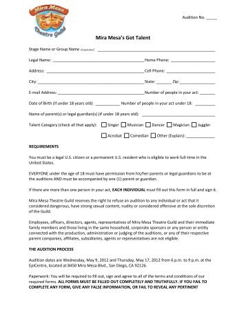 Production Audition Form - Theatre And Dance - Missouri State