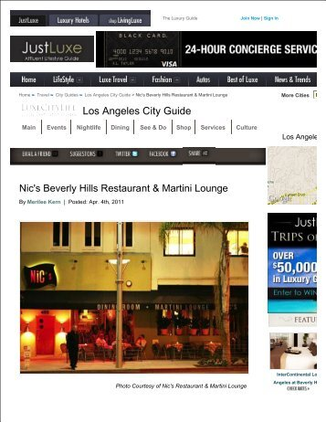 Los Angeles City Guide - Nic's Martini Lounge