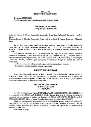 ROMÂNIA TRIBUNALUL BUCUREŞTI Dosar nr: 187872 ... - ONRC