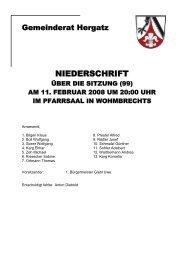 Protokoll der Sitzung Nr. 99 vom 11. Februar - Gemeinde Hergatz