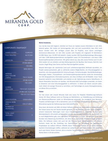 MAD Newsletter - January 2012 - Miranda Gold Corp.