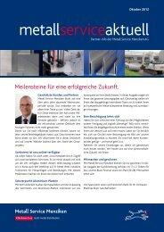 Kundenzeitschrift PDF - Metall Service Menziken