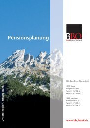 Pensionsplanung - Bank Brienz Oberhasli