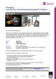 Einladung zum Seminar Instandhaltungsstrategie für Profibus