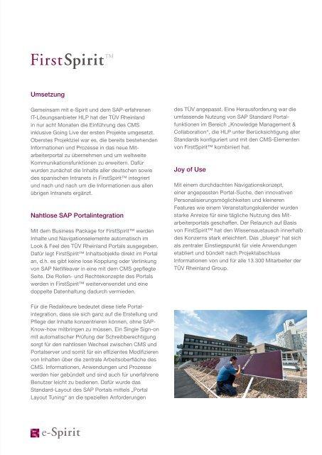TÜV Rheinland Mitarbeiterportal CMS mit SAP ... - e-Spirit AG