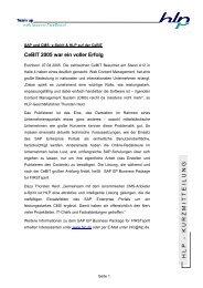 Kurmitteillung CeBIT 2005 - HLP Informationsmanagement  GmbH
