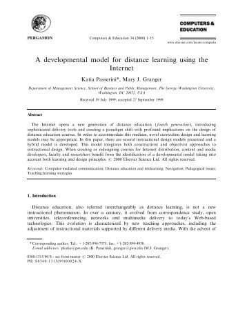 A developmental model for distance learning using the Internet