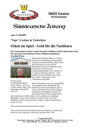 Glück im Spiel - Geld für die Nachbarn - INGO Casino Železná Ruda