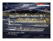 Ship Self Defence System Mk 2 and Data Distribution Standard (DDS)